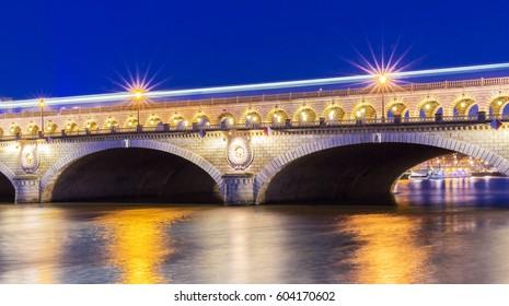 The pont( bridge) Bercy at night, Paris, France.