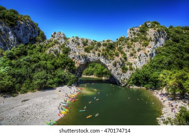 Pont d'Arc, a Natural Bridge Carved Out by the Ardeche River, South-Central France