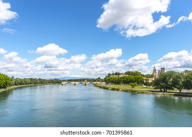 Pont d'Avignon, Rhone river, Palace of Popes - Palais des Papes - in Avignon, France, UNESCO World Heritage Site