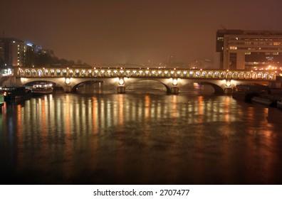 pont de bercy bridge at night, paris, france