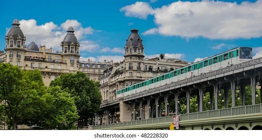 Pont de Bir Hakeim in Paris, France, a bridge for Metro, Europe
