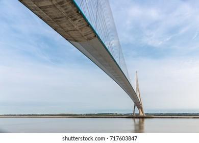 Pont de Normandie over river Seine in France, longest rope bridge of Europe