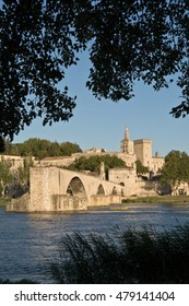 Pont du Avignon ,Avignon Bridge with Popes Palace and Rhone river at sunset, Provence, France