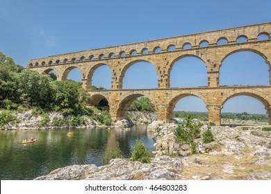 Pont du Gard. Ancient Roman aqueduct that crosses the Gardon River in southern France near Nimes.