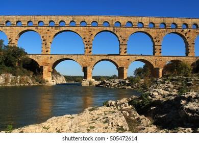 The Pont du Gard, an ancient Roman aqueduct that crosses the Gardon River in southern France