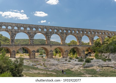 Pont du gard, a famous old acqueduct bridge close to Nimes in France, Europe