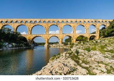 Pont du Gard, famous roman aqueduct in southern France near Nimes.