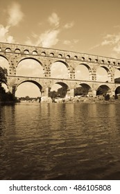 Pont du Gard near Nimes, France , antique light saturation