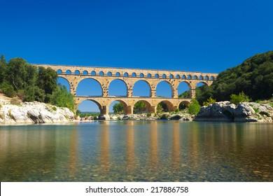 Pont du Gard old Roman aqueduct bridge near Nimes in Southern France, Provence, Europe