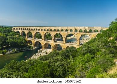 Pont du Gard is an old Roman aqueduct, southern France near Avignon