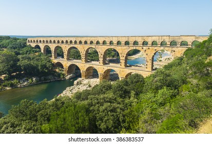 Pont du Gard is an old Roman aqueduct, southern France near Avignon