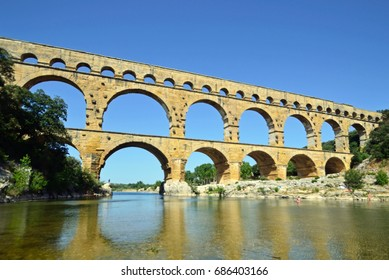Pont du Gard over Gardon River in France