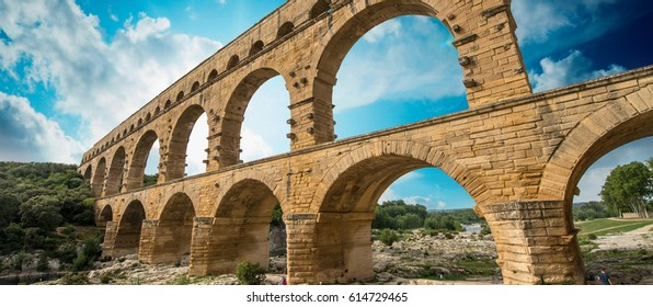 Pont du Gard, Provence - France. Ancient Roman Aqueduct at sunset.