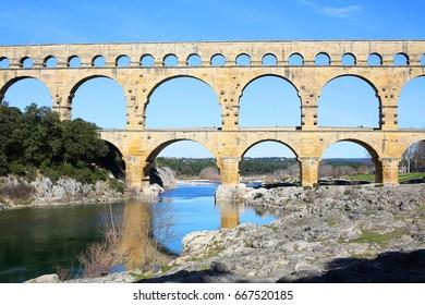 Pont du Gard in South France, Roman Aqueduct, Unesco World Heritage