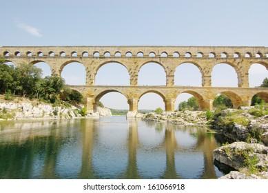 Pont Du Garde ancient Roman aqueduct, France.