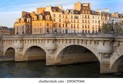 The Pont Neuf New Bridge , the oldest standing bridge across the river Seine in Paris, France.