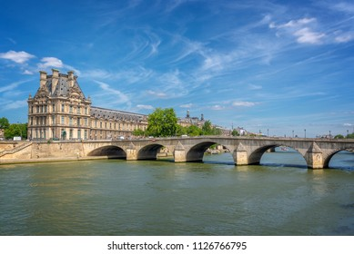 Pont Royal (Royal bridge) and the Seine river in Paris, France