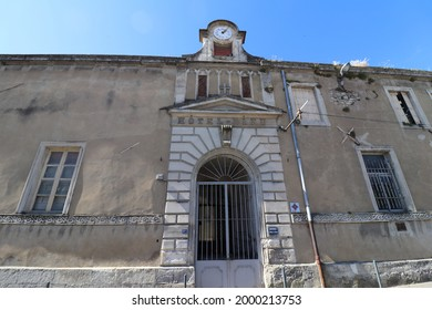 Pont Saint Esprit, France - 06 26 2021 : Former monastery of the Visitation, former hospital and former Hotel Dieu, exterior view, village of Pont Saint Esprit, department of Gard, France