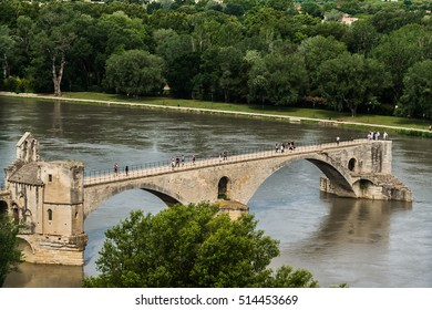 Pont Saint-Benezet, or Pont d'Avignon - famous medieval bridge in Avignon, southern France, Europe. Bridge spanning Rhone between Villeneuve-les-Avignon and Avignon was built between 1177 and 1185.