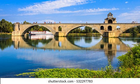 Pont Saint-Benezet on the Rhone River in Avignon, France.