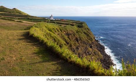 Ponta da Ferraria Lighthouse in Sao Miguel Island, Azores, Portugal