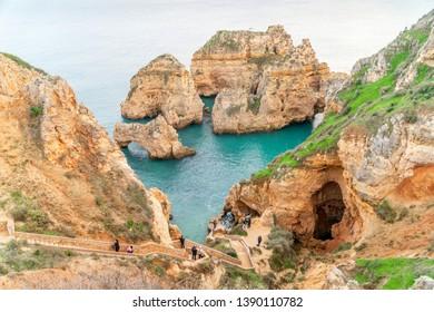 Ponta da piedade landscape in Lagos, Algarve, Portugal