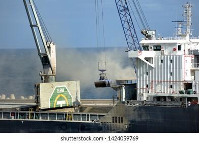 Ponta Delgada, Azores - 23rd April 2019:Elena off loading its cargo by crane