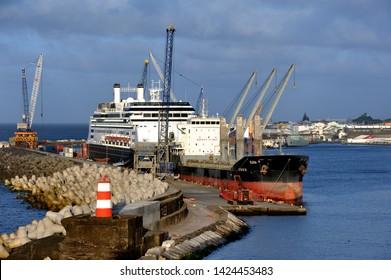 Ponta Delgada, Azores - 23rd April 2019:Elena and Rotherdam in port