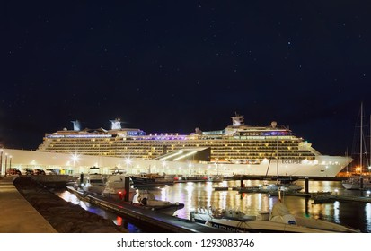 Ponta Delgada, Azores Islands, Portugal - September 24, 2014: Cruise Line Celebrity, cruise ship Eclipse docked at night in the port of Ponta Delgada city  in the Sao Miguel Island