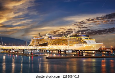 Ponta Delgada, Azores Islands, Portugal - September 24, 2014: Cruise Line Celebrity, cruise ship Eclipse docked at night in the port of Ponta Delgada city  in the Sao Miguel Island.
