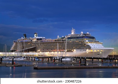 Ponta Delgada, Azores Islands, Portugal - September 24, 2014: Cruise Line Celebrity,  ship Eclipse docked at night in the port of Ponta Delgada city  in the Sao Miguel Island on September 24, 2014.