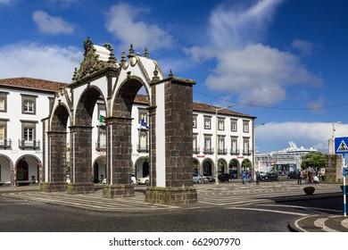 Ponta Delgada, Azores - May 05,2017: Ponta Delgada on the island of Sao Miguel is the capital of the archipelago Azores.