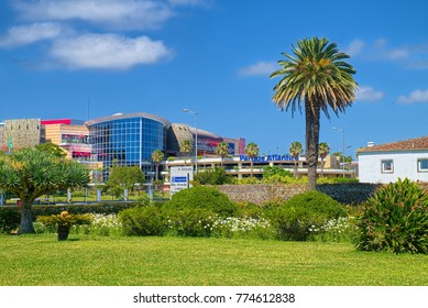 PONTA DELGADA, AZORES, PORTUGAL - JUNE 28, 2017: Landscape in Ponta Delgada city with Parque Atlantico mall on the background, located on Sao Miguel island of Azores, Portugal.