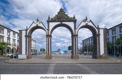 PONTA DELGADA, AZORES, PORTUGAL - JUNE 30, 2017: City Gate (Portuguese: Portas da Cidade), iconic 18th-century gates of Ponta Delgada, featuring ornate archways, located on Sao Miguel island of Azores