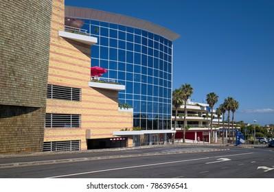 PONTA DELGADA, AZORES, PORTUGAL - JUNE 28, 2017: Inspired by sea theme, architecture of Parque Atlantico mall in Ponta Delgada city, located on Sao Miguel island of Azores, Portugal.