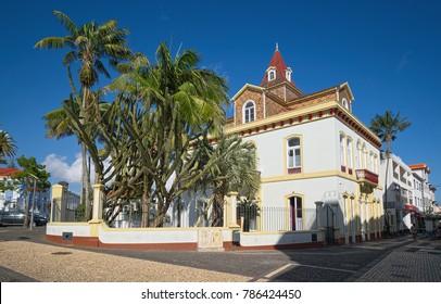 PONTA DELGADA, AZORES, PORTUGAL - JUNE 26, 2017: Old hotel named as Casa das Palmeiras Charming House, with eclectic tropical garden, in Ponta Delgada city, located on Sao Miguel island of Azores.