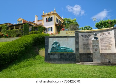 PONTA DELGADA, AZORES, PORTUGAL - JUNE 26, 2017: Monument in shape of open book with two female sculptures at sides in Antero de Quental Garden of Ponta Delgada city, located on Sao Miguel island.
