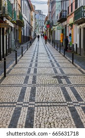 Ponta Delgada, Azores, Portugal - May 05, 2017: Streets and walkways of Ponta Delgada. Ponta Delgada on the island of Sao Miguel is the capital of the Azores, Portugal.