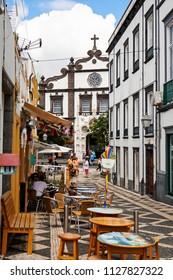 PONTA DELGADA, PORTUGAL - JUNE 28th, 2018: Ponta Delgada, on Sao Miguel Island, is the capital of the Azores archipelago of Portugal.