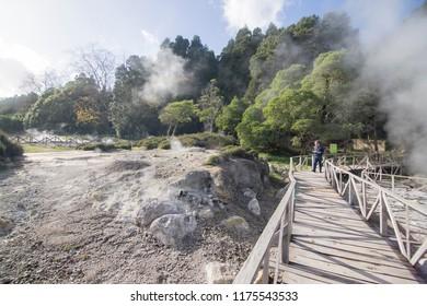 PONTA DELGADA SAO MIGUEL ISLAND AZORES PORTUGAL:Steaming caldera at Furnas Lake Sao Miguel island Azores Portugal on January 2018