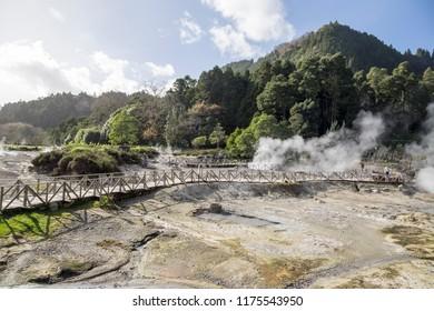 PONTA DELGADA SAO MIGUEL ISLAND AZORES PORTUGAL: Steaming caldera at Furnas Lake Sao Miguel island Azores Portugal on January 2018