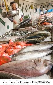 Ponta Delgada, Sao Miguel / Portugal - May 22 2014: food market in ponta delgada (Mercado da Graсa). Fish trade