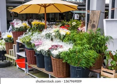 Ponta Delgada, Sao Miguel / Portugal - May 22 2014: food market in ponta delgada (Mercado da Graсa). Flower trade