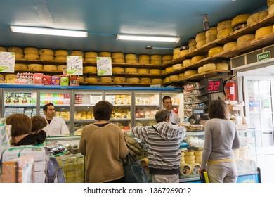 Ponta Delgada, Sao Miguel / Portugal - May 22 2014: food market in ponta delgada (Mercado da Graсa). Trade in cheese