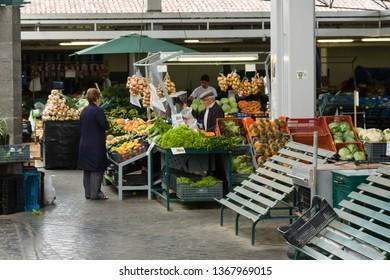 Ponta Delgada, Sao Miguel / Portugal - May 22 2014: food market in ponta delgada (Mercado da Graсa). Empty counters