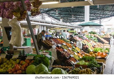 Ponta Delgada, Sao Miguel / Portugal - May 22 2014: food market in ponta delgada (Mercado da Graсa). Trade in vegetables