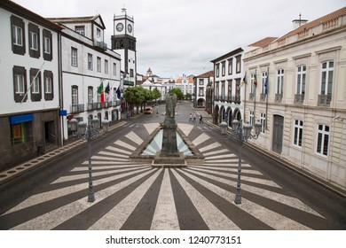 Ponta Delgada town hall in city center square with decorative pavement design patterns and fountain Azores