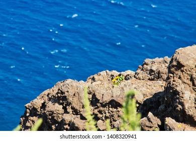 Ponta do Pargo Ilha da Madeira. Lighthouse Ponta do Pargo - Madeira Portugal. The most western point of the island Madeira. View from Lighthouse Ponta do Pargo - travel background. Spring summer