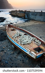PONTA DO SOL, CAPE VERDE - DECEMBER 08, 2015: Wooden fishing boat  at the beach of Santo Antao Island.