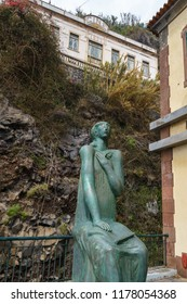 Ponta do Sol, Portugal - March 3, 2018: Statue of Lady Justice in front of the court in Ponta do Sol, Madeira